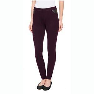 DKNY Skinny Jeans Burgundy Faux Leather Pocke